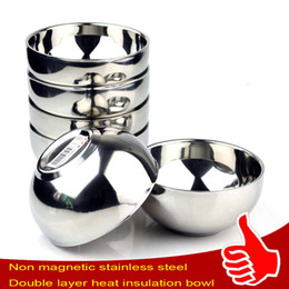 Wholesale Rice Steel Bowl - Stainless Steel Children's Rice Bowl Household Small Double-Deck Smooth Bowl Anti Scald Heat Insulation Soup Bowl