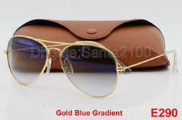 Wholesale Box Top Brands - 1pcs Top Fashion Brand Pilot Sunglasses Designer Sun Glasses For Men Women Gradient Alloy Metal Gold Blue Glass Lens 58mm Original Case Box