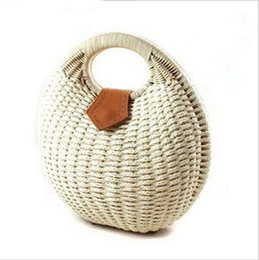 Wholesale Ladies Straw Handbags - Nest Tote Handbag Summer Beach Bags Small Brand Bag Woman Straw Bags Women's Handbag Rattan Bag