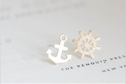 Wholesale Anchor Rudder - In 2016 the new fashion of anchor and rudder composite stud earrings women lovely earrings wholesale free shipping festival best gift