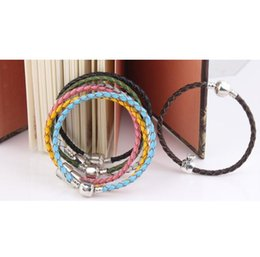 Wholesale Diy Stamps - 20CM Authentic 925 Sterling Silver Clasp Bead Original Stamp Woven Leather Bracelet Fits Pandora Charms Bracelet DIY Fashion Jewelry