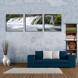 Wholesale Paint Definition - Canvas Print for Living Room Decoration 3 Panels Red Dreamlike Waterfall Painting Wall Art on Canvas- High Definition Modern Home Decor