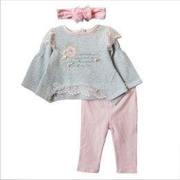 Wholesale Baby Linen Shirt - 2016 New Baby clothing set Spring Autumn Girls 3 Piece suits T-shirt +pants+bowknot Headband princess flowers kid clothes