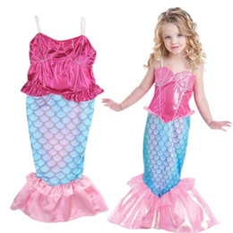 Wholesale mermaid suspenders - Baby girls princess lace dress children Mermaid dresses cartoon kids Halloween Cosplay dress for party C2810