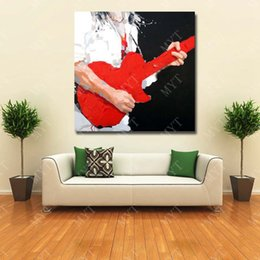 Wholesale Guitar Modern Art Painting - Play Guitar Oil Painting Wall Art Decorative Bedroom Wall Pictures Modern Oil Painting on Canvas Wholesale for Sale