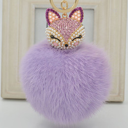 Wholesale Pink Carabiner - Cute Fox Fur Pearl Ball Rhinestone Key Chain RingKeyring Keychain Bag Car Charm