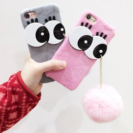Wholesale Iphone Winter Cover - Cute Big Eyes Fur Ball Phone case for iPhone 6 6s 7 Plus Rabbit Hair Warm Winter Fashion Cover for iPhone 7 Case