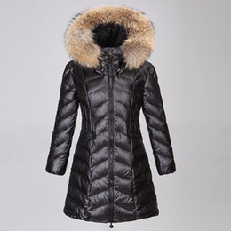 Wholesale Women Long Down Coat White - M8 ALBIZIA Brand parkas for winter Jacket Women Long Ladies anorak women coats with real fur hood parka women jackets