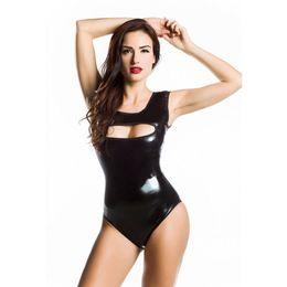 Wholesale Plus Size Costume Onesies - Plus Size Lingerie Women Erotic Body Black Sexy Leotard PU Leather Latex Costume Unitard Bodysuit Pijama Feminino Latex Catsuits