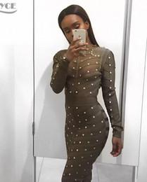 Wholesale Long Sleeve Bandage Dress Mesh - 2016 new women winter long sleeve studded olive mesh high neck black bodycon knee-length celebrity sexy bandage dress wholesale