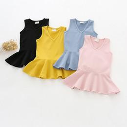 Wholesale Velvet Children S Clothing - 2017 kids clothes Autumn new children 's clothing girl vest dress cotton cotton leaf velvet skirt