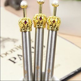Wholesale Korean Crown Pen - Metal Vintage style classical crown ball pen Korean Style Princess Ball Pen School supplies  stationery papelaria WJ0109