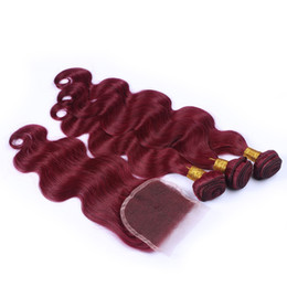 Wholesale Burgundy Red Hair Color Extension - Malaysian body wave burgundy hair 3pcs bundles with closure 99j wine red wavy human hair extension with free parting 4*4 top lace closure