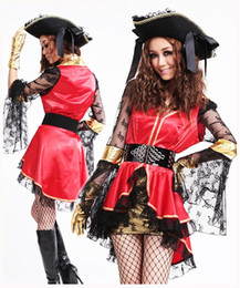 Wholesale Woman Adult Pirate Costume - Adult Halloween Cosplay party sexy Lady Girl Pirate Queen Fancy Dress Costume Outfit + Hats D022 one size S-L
