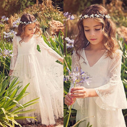 Wholesale Graduation Dresses Full Sleeves - Vintage Full Lace Flower Girl Dresses for Wedding Beach Garden Bohemian V Neck Illusion Flare Sleeves Lace Kids Formal Gowns Custom Made
