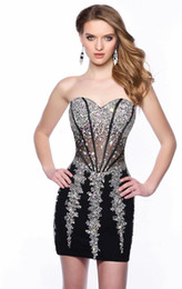 Wholesale Tight Satin Party Dress - Sexy Sweetheart Short Beaded Black Tulle Tight Homecoming Dresses 2017 Backless Sheer Prom Party Gowns Vestidos