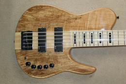 Wholesale One Piece Basses - Custom One Piece Neck Thru Body Natural 5 Strings Electric Bass Black Hardware Active Pickups Black Pearloid Block Fingerboard Inlay