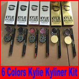 Wholesale Cosmetic Pots Wholesale - Kylie Cosmetics brithday edition kylie kyliner eyeliner and gel Gel pot Brush liner 6 types black  brwon chameleon bronze