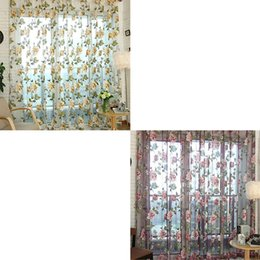 Wholesale Wholesale Curtain Fabric - 1Pc Voile Door Curtain Window Room Drape Panel Floral Peony Scarf Sheer Valance Sheer Curtains E00628