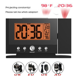 Wholesale Led Digital Wall Clocks - Baldr LCD Digital Display Indoor Temperature Time Watch Backlight Wall Ceiling Projection Snooze Alarm Clock with Adaptor