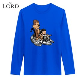 Wholesale Euro Blouse - Chewie&Han Hobbes Falcon Star Wars Mens Cool T Shirt Euro Size Design Long Sleeve Cotton Shirt Movie Cartoon Tops Blouse 5 Colors Wholesale