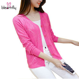 Wholesale Women Coats Xl Cheap - Cheap Women Cardigan Long Sleeve Autumn Spring Knitted Tops Pink White Color Basic Coat Female Capes Ponchoes Hollow Out Jacket