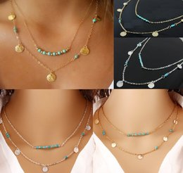 Wholesale Multi Layered Beads - Simple Style Gold & Silver Plated Necklaces Multi Layered Chains Turquoise Beads Sequins Pendant Necklace Fine Jewelry