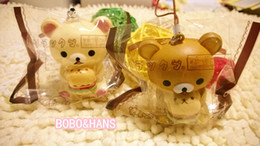 Wholesale Cartoon Hamburger - Wholesale-New Cute cartoon bear with hamburger squishy charm   mobile phone strap   Wholesale