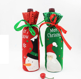 Wholesale Cheap Wine Bottles Wholesale - Red Wine Bottle Covers christmas table decorations Articles Christmas Gift Bags Wine Packaging christmas Cheap decorations