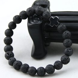 Wholesale Indian Stone Beads - 2016 New Arrival Mens Beaded Jewelry 8mm Lava Stone Beads Gallstone Cross Bracelets Party Gift Yoga Jewelry