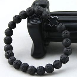 Wholesale Mens Cross Bracelets - 2016 New Arrival Mens Beaded Jewelry 8mm Lava Stone Beads Gallstone Cross Bracelets Party Gift Yoga Jewelry