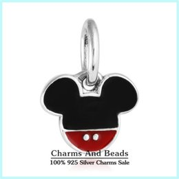 Wholesale Icon Bead - crown Silver Mickey Icon Charm 925 ale sterling silver charms loose beads diy jewelry wholesale for thread bracelet DF457