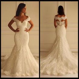 Wholesale Wedding Dresses Unique Designs - New Arrival Long Lace Mermaid Wedding Dresses 2017 Sexy V Neck Bridal Gowns Unique Design Back