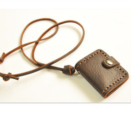 Wholesale Artistic Leather - Hot Sale New Special Vintage retro design Handmade genuine cowhide leather notebook necklace pendant Creative artistic accessory Gifts