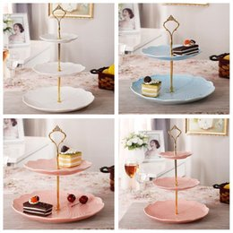Wholesale Cake Stand Handles Wholesale - 3 Tier bakeware Cake Plate Stand Handle Crown Fitting Metal Wedding Party Golden kitchen accessories cake decorating tools