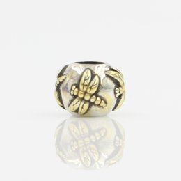 Wholesale 925 Silver Materials - Wholesale Beads 100% 925 Sterling Silver Bead Material Two Tone Rhodium and Gold Plating Dragonfly Bead Elegant Charm Fit Pandora Bracelet
