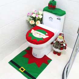 Wholesale Cheap Cartoon Rugs - 3pcs lot Cheap 2016 Merry Christmas Decoration Santa Green Fairy Toilet Seat Cover & Rug Bathroom Set Best Christmas Decorations Gifts