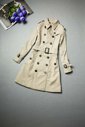 Wholesale England Belt - HOT CLASSIC WOMEN FASHION ENGLAND MIDDLE LONG TRENCH COAT BRITISH DESIGNER DOUBLE BREASTED SLIM BELTED TRENCH FOR WOMEN F260A2048S-XXL