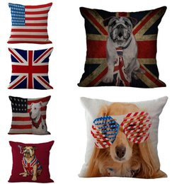 "Wholesale Linen Cotton Sofa - Union Jack Dog The stars and Stripes Printed Cushion Cover 18""x18"" Cotton&Linen Home Sofa Car Decorative Thrown Pillow Case Free Shipping"