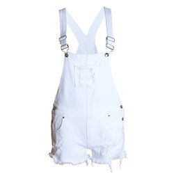 Wholesale Suspender Shorts Jeans Overalls - 2016041528 Hot new Distress Selling Women Denim Overalls Ladies' Jeans Rompers Girls Casual Skinny Ripped holes Vintage Suspender Gallus
