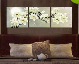 Wholesale Wall Painted Floral Art - Framed m34-Plum blossom 3 panels, Pure Handpainted Huge Modern fashion home Wall Deco Art Oil Painting On canvas