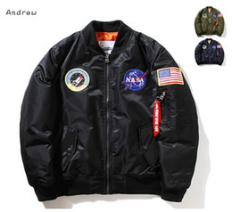 Wholesale Long Sleeve Collar - NASA Mens MA1 Bomber Jacket Insignia USAF Kanye West Hip Hop Sport Male Windbreaker Jacket Flag Mens Spring Thin section Jacket XXXXL
