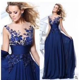 Wholesale Women Evening Gown Maxi Dress - 2017 Evening Wear Dresses Blue Lace Plus Size Dresses Rows Of Flowers Wholesale Perspective Backless Prom Dresses Cheap For Women