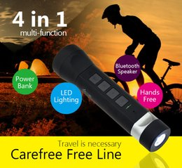 Wholesale Cycling Phone - LED Flashlight Speaker Portable Bike Cycling Torch Lamp Bluetooth Speakers with 2200mah Power Bank for outdoor activities with bike shuffer