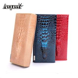 Wholesale Clutch Type Purse - Wholesale-2015 Women 3D Crocodile Grain Long Wallets Genuine Leather Embossed Design Draw-out Type Wallet Clutch Purses Carteira Unisex