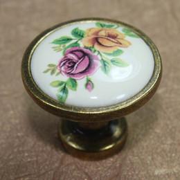 Wholesale Wholesale Porcelain Knobs - 30mm fashion pastorale porcelain vintage furniture knobs bronze ceramic drawer cabinet knob antique brass dresser cupboard pull