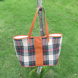 Wholesale Wholesale Leather Handles - Wholesale Blanks Plaid Fashion Tote Bag with PU Faux Leather Handles Acrylic Wool Material Soft Handbag DOM103405