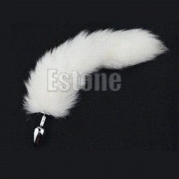 Wholesale Cheap Male Butt Plugs - 1PC White Fox Tail Butt Metal Plug 35cm Long Anal Adult Product Sex Toy New Cheap sex and the city underwear