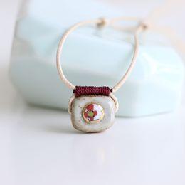 Wholesale Porcelain Blossom - Plum blossom Handmade original design hand-painted ceramic necklace pendant Creative artistic accessory Gifts