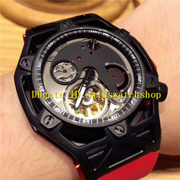 Wholesale Mens Watches Car - New Model Luxury Brand Black Stainless Steel Sports Car Tourbillon Automatic Mens Watch Red Rubber Strap Man Wristwatches
